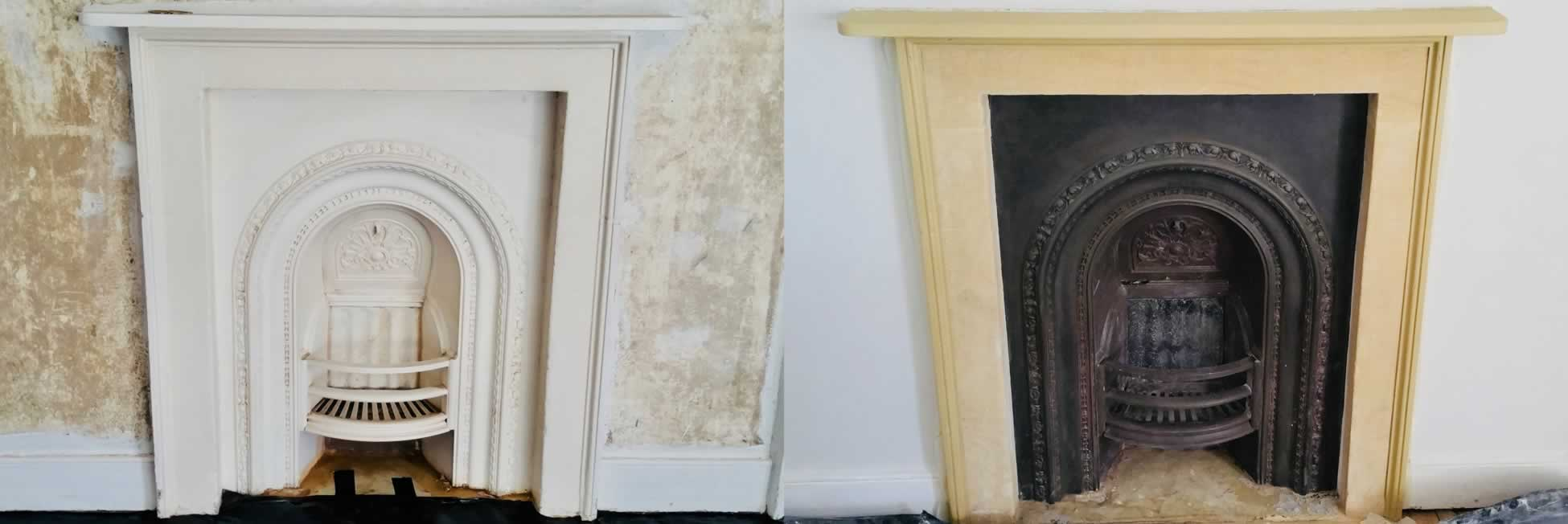 fireplace restoration and cleaning in bath